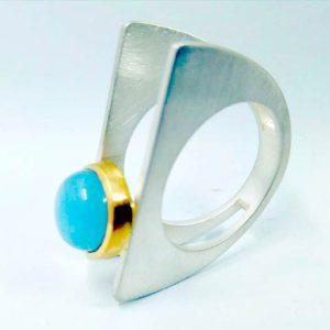 Anillo oro/plata+Aguamarina
