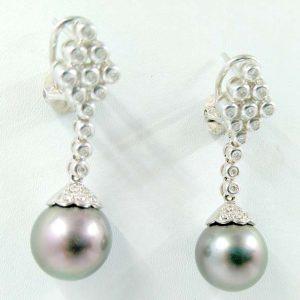 Pendientes oro blanco 18k con perlas de Tahiti y diamantes